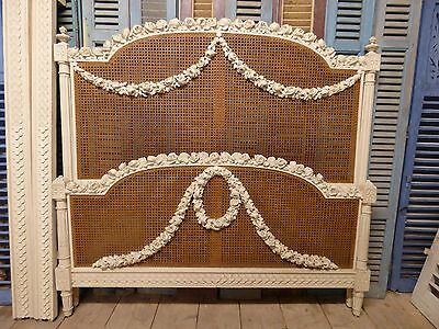 Stunning Rare Cane Antique King Size French Bed - g59