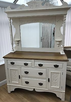 Old Vintage Solid Oak Shabby Chic Dresser/sideboard With Mirror