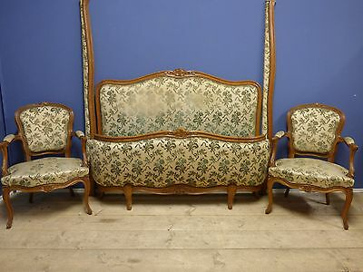 VINTAGE FRENCH DOUBLE BED WITH MATCHING CHAIRS - g193