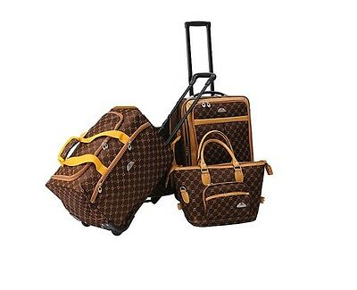 American Flyer Signature 3-Piece Luggage Set Chocolate Gold