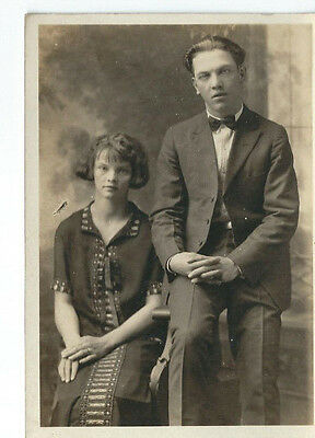 1918-1930 RPPC Real Photo Antique Postcard Young Married Couple Portrait Posing
