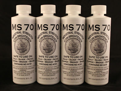 COIN CLEANER / BRIGHTENER MS70 -GOLD, SILVER, COPPER  8 oz. Bottle -4 TOTAL