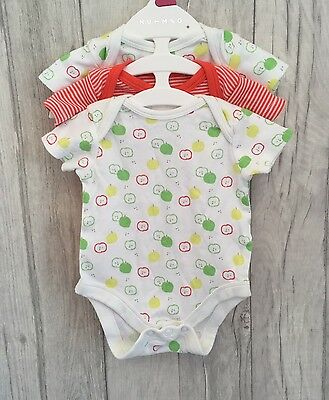 3 x Mini Club Baby Vests Newborn Bundle Set Apple Fruit Bodysuit Boots Girl Boy