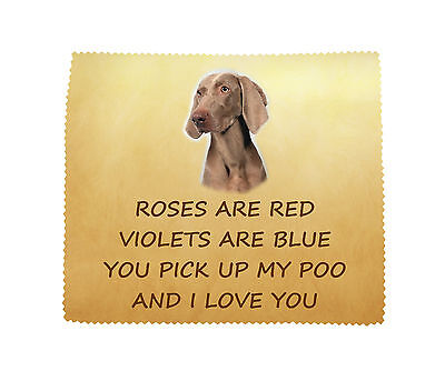 Weimaraner 'I LOVE YOU' Microfibre Cloth Fun Novelty Gift FROM THE DOG