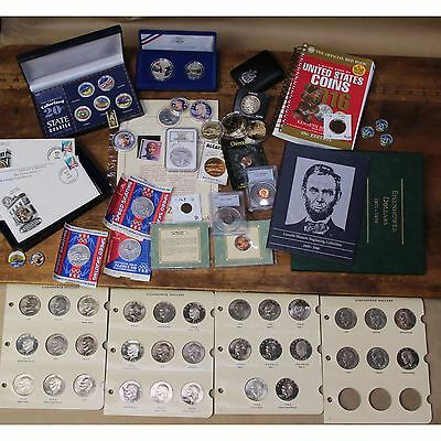 HUGE Junk Lot Old US Coins Ike Silver Dollars Lincoln Album US Comems Tokens