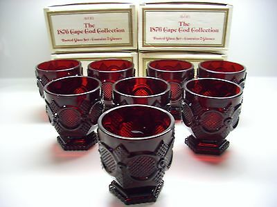 Vintage Avon 1876 Cape Cod Footed Glasses Ruby Set 8 Juice High Ball New N Box