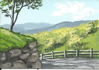 """Aceo original acrylic painting """"Around the Bend"""" by J. Hutson"""