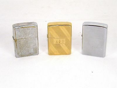 Lot of 3 Vintage Zippo Lighters 1979 Gold Chrome Scroll