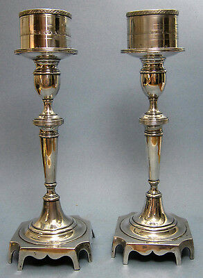COIN SILVER CANDLESTICKS~pair~ANTIQUE~MID-1800's~from Estate~CANDLE HOLDERS