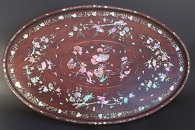 Chinese Indochinese tray wood & mother of pearl 19th century plateau Indochinois