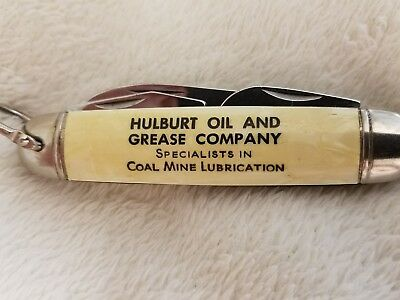 HULBURT OIL & GREASE COMPANY ADVERTISING POCKET KNIFE Coal Mine Lubrication