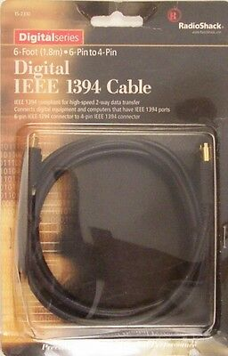 RadioShack 15-2310 6 Foot 6-Pin to 4-Pin Digital IEEE 1394 Cable