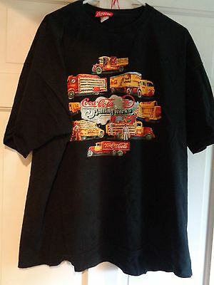 Black XL COCA-COLA tagged Tee Shirt screened with vintage delivery trucks!!