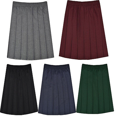 Girls Kids School Elasticated Waist Box Pleated Skirt Plain Uniform 2-18 Black