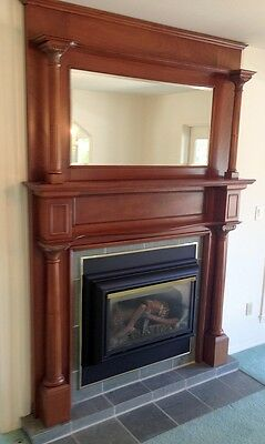 Antique Mahogany Fireplace Mantel & Surround w. Beveled Glass Mirror-Great Shape