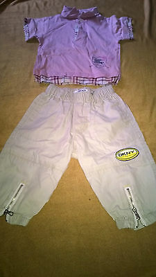Burberry pink top and DKNY trouser baby size 6 month