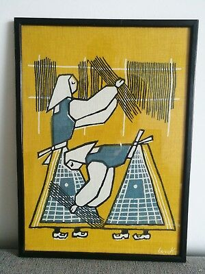 Superb Vintage Mid Century Abstract Working Women Framed Fabric Wall Art