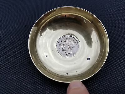 Antique Persian Coin Mounted Dish Coin Dish Silver Tone Color Estate L@@k Here!!