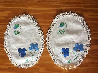 2 X Vintage 'Blue Iris' Embroidered Doilies