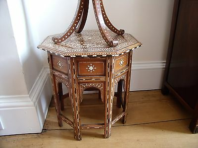 Octagonal Antique Inlaid Folding Table And Mirror