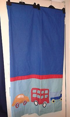 """Blue and Red Car, Bus & Truck Lined Tab/Tape Top Curtains, Red Tiebacks 64"""" x 72"""
