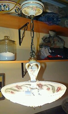 Antique Porcelier art deco floral porcelain ceiling chandelier glass shade