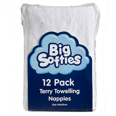 Big Softies Baby Cotton Terry Towelling Reusable Cloth Nappies White 12 Pack