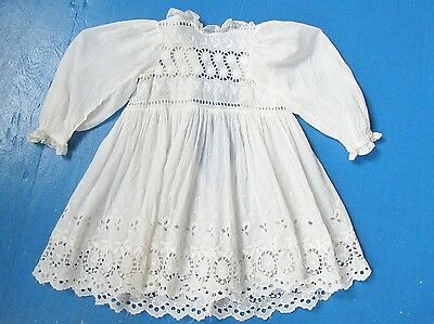 Antique Edwardian Childs Cotton Dress Hand Sewn w  Embroidery & Lace Trim White