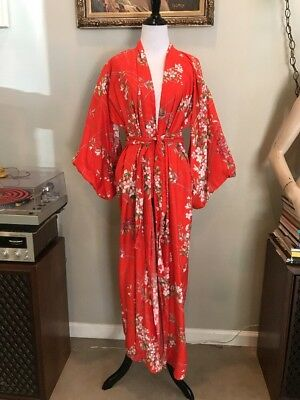 VTG 80s Pier 1 GYPSY Kimono Robe Made In Japan Floral Red One Size Cotton Dress