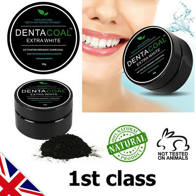 Dentacoal ® Activated Charcoal Teeth Whitening Powder 100% Organic Vegan UK