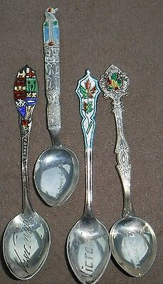 4 vtg.  sterling silver souvenir spoons Vancouver & Victoria Canada; Totem Pole