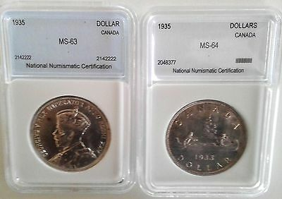 1935 $1 - Pair of Professionally Graded Mint Coins
