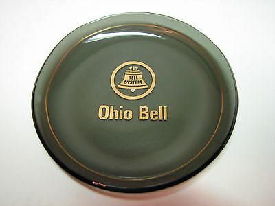 Vintage Ohio Bell Telephone Promotional Bell System Glass Coaster Trinket Dish
