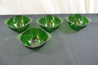 Arcoroc France green glass handle bowls lot of 4 302 #21