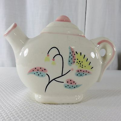 Vintage Kitsch Teapot Wall Pocket Planter Pink White Yellow