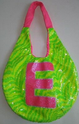 "Justice Girl's Initial ""E""  Bag Purse Green zebra Sequins Pink"