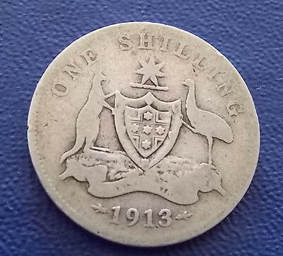 *Rare* 1913 Australia One Shilling Very Low Mintage only 1.2 Million Minted