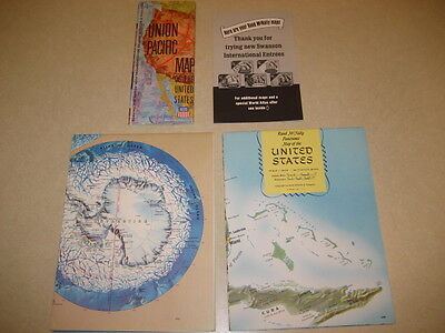 Lot 3 Maps Rand McNally US, Panoramic World Map + Union Pacific Map Vintage 1971