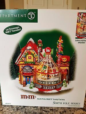 Dept 56 NORTH POLE M&M CANDY FACTORY & Bonus M&M's Stamp of Approval - NIB!!!