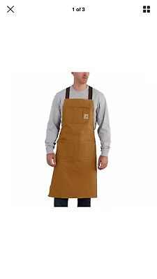 NWT Carhartt Made in USA Brown Duck Work Apron Multple Pockets Adjustable Ties