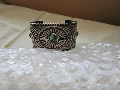 Wide Navajo Yellowhorse Signed Turquoise Sterling Silver Bracelet