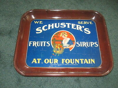 Antique 1918 Schuster's Fruits Sirups Advertising Soda Fountain Metal Tray