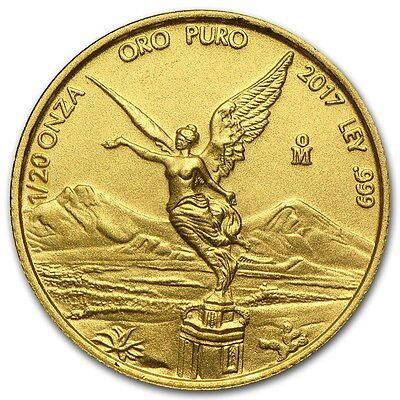 2017 Mexican Libertad 1/20 oz .999 Gold Round Bullion VERY LIMITED BU Coin
