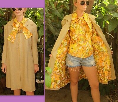 GROOVY ❤ Vtg 60s MOD Burlap Linen Trench SWING Coat MATCHING LINING/BLOUSE Top M