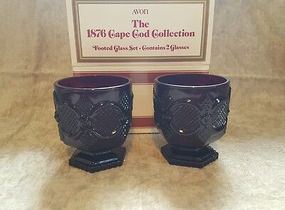 NIB Avon 1876 Cape Cod Ruby Red Glass FOOTED GLASS with Original Box Set of 2