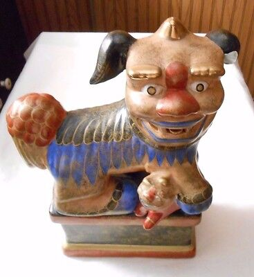 10 Inch Chinese Foo Dog On Base With Small Dog