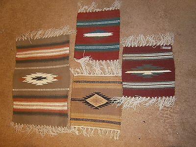 Lot of 4 Woven India Mexico Saddle Blanket Runner Mat 9 x 15 and 14 x 24""