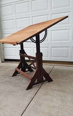Antique Drafting Table Oak & Cast Iron