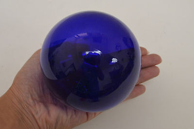 """Cobalt Blue Reproduction Glass Float Fishing Buoy Ball 4"""" F-502A"""