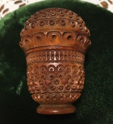 Antique Acorn Shaped Deeply Carved Wooden Thimble Holder.